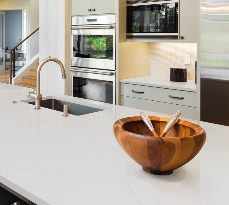 marble look quartz in family kitchen