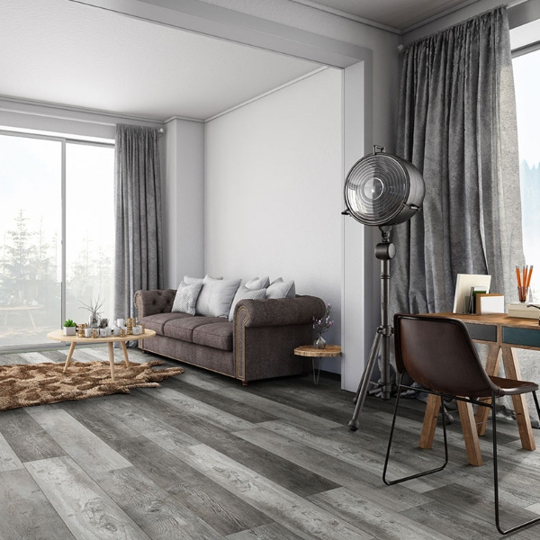 grey vinyl plank flooring in apartment