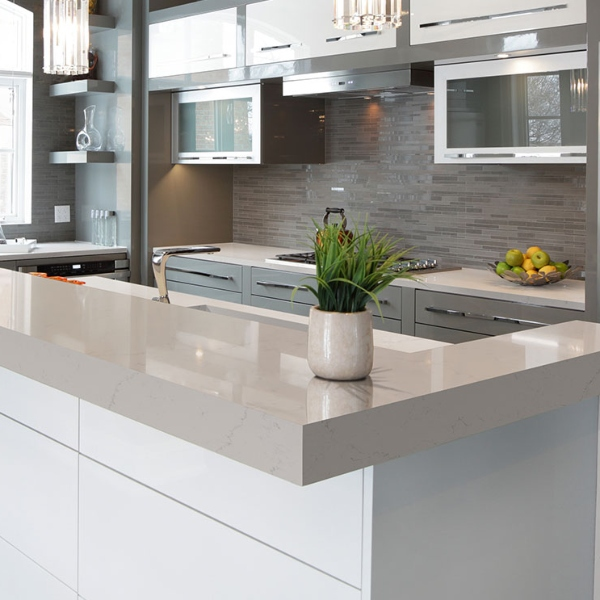 white and gray kitchen with quartz countertop