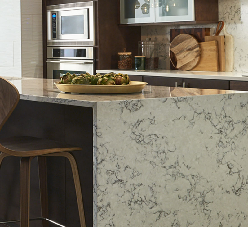 bookmatched marble look quartz kitchen