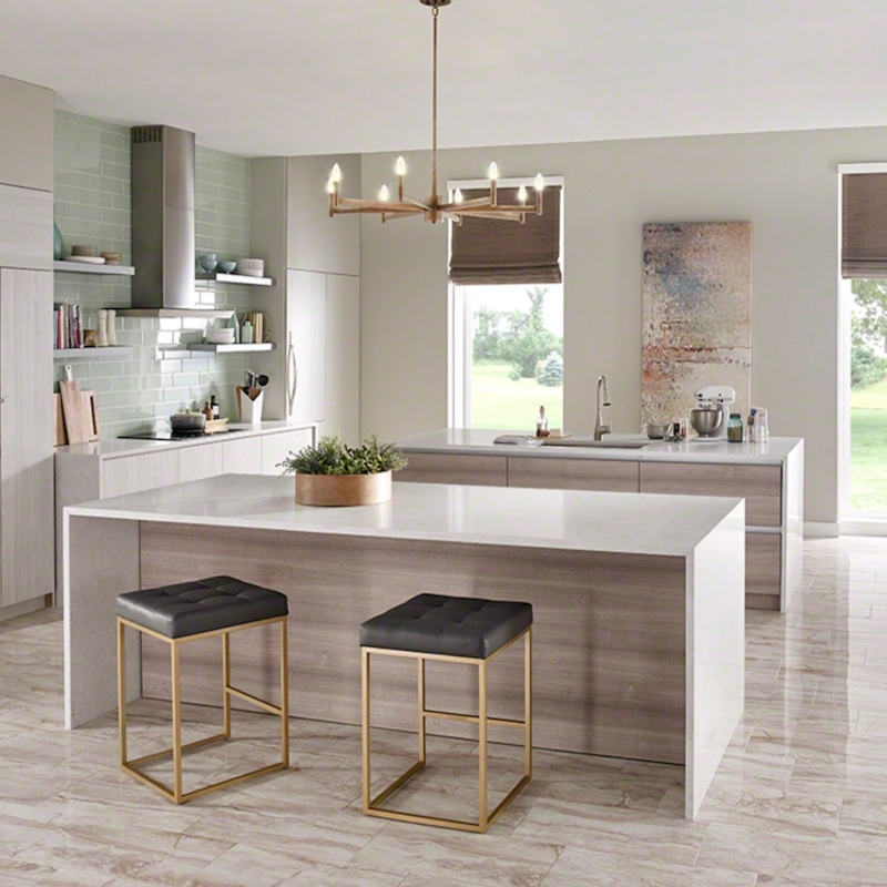 white quartz countertop waterfall edge kitchen scene