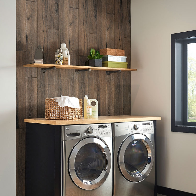 porcelain wood look tile for stylish laundry room