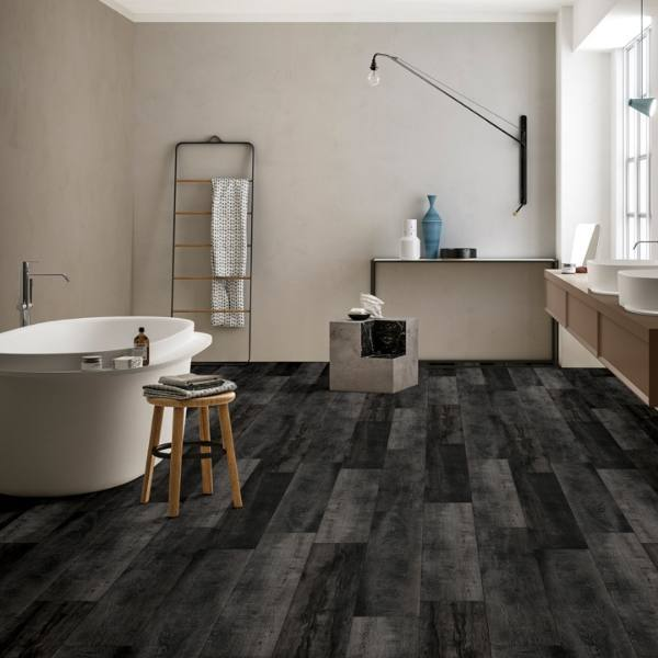 dark gray wood look lvt bathroom