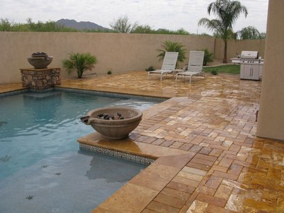 Pool Fountain And Outdoor Shower Tiles That