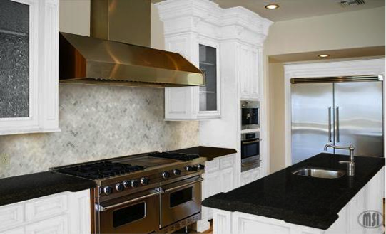 Black granite countertops the royal appeal for White kitchen cabinets with black galaxy granite