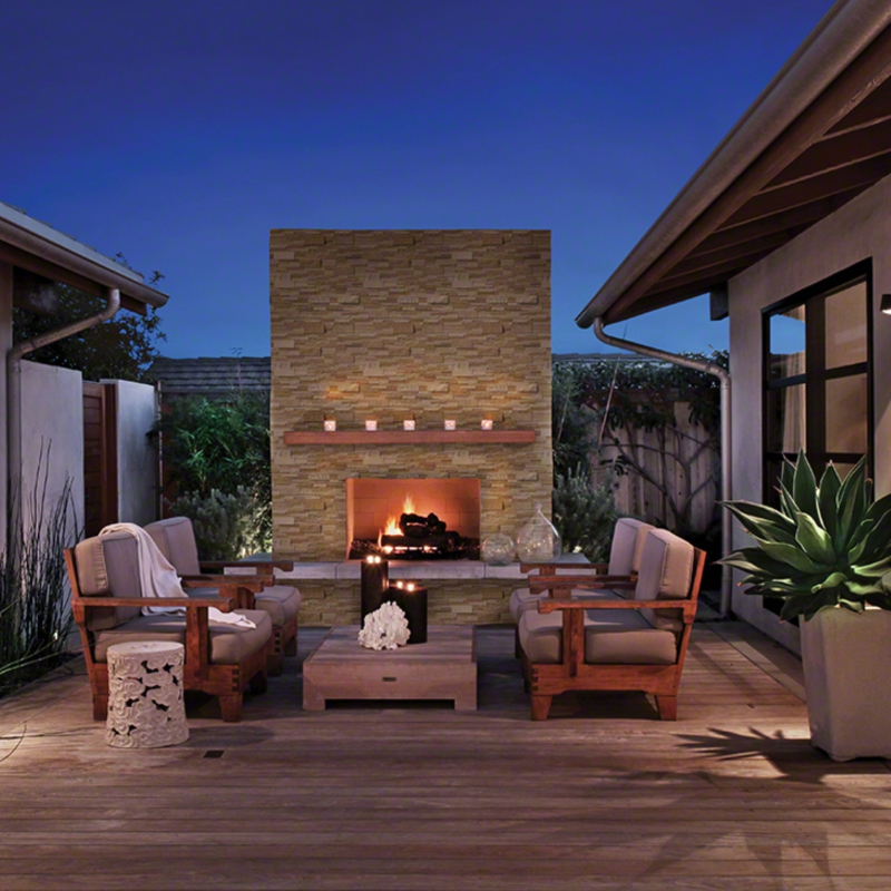 Casa Blend 3D Honed Stacked Stone Fireplace