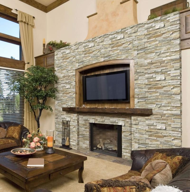 Golden Honey Stacked Stone Fireplace