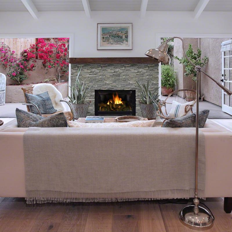 Sierra Blue Stacked Stone Fireplace
