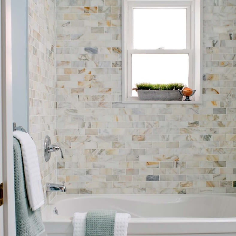 Calacatta Gold Subway Tile Bathroom