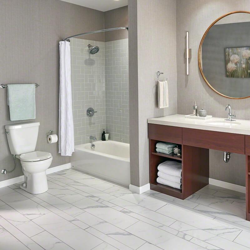 Gray Glossy Subway Tile Bathroom