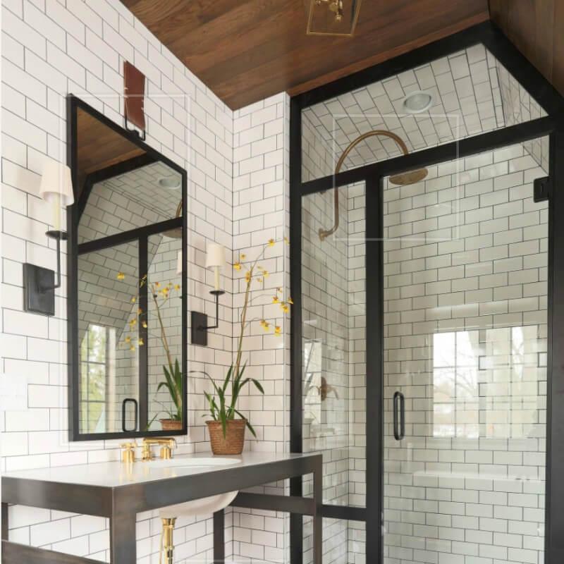 White Glossy Subway Tile Bathroom