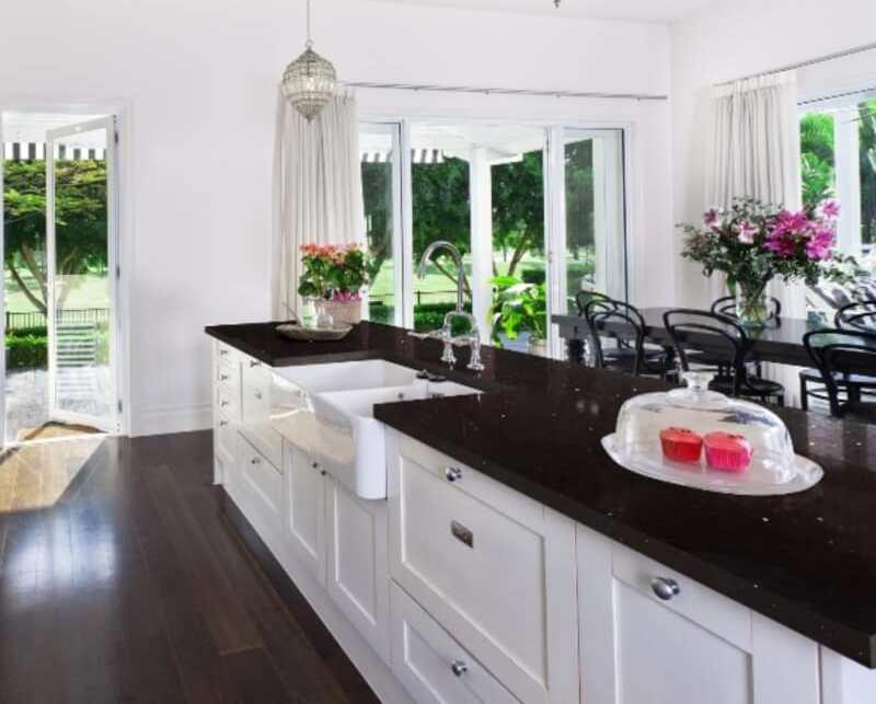 Black Granite Countertops, White Kitchen Cabinets With Black Quartz Countertops