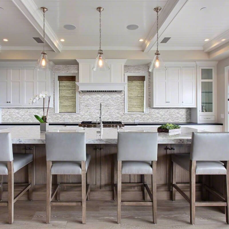 stunning kitchen stacked stone backsplash