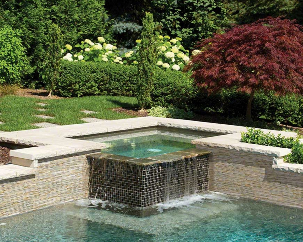 beautiful pool with stacked stone