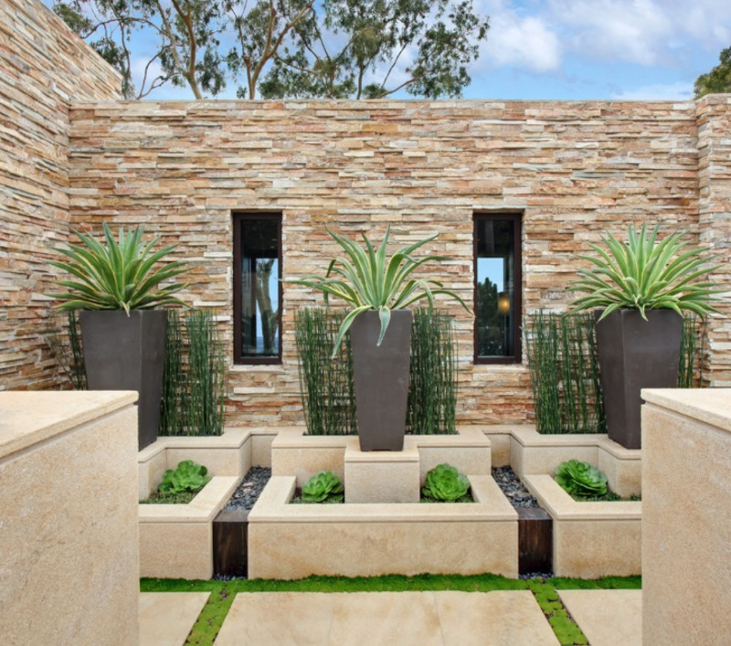 outdoor living with splitface wall tile