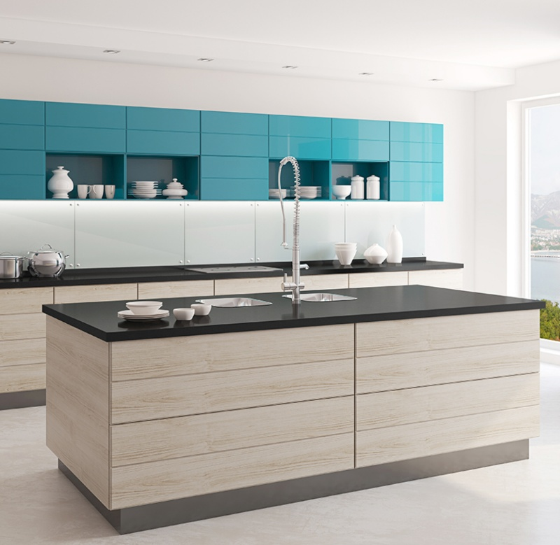 clean kitchen with black granite counter
