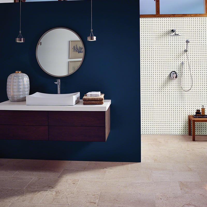Black and white basketweave shower walls