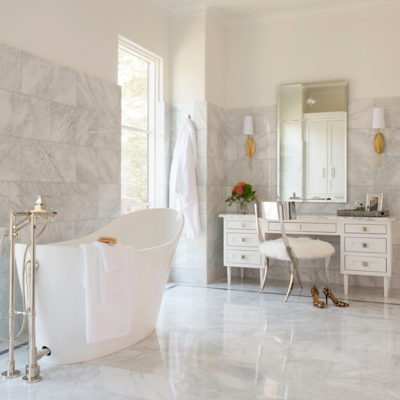contemporary marble bathroom with stand alone tub