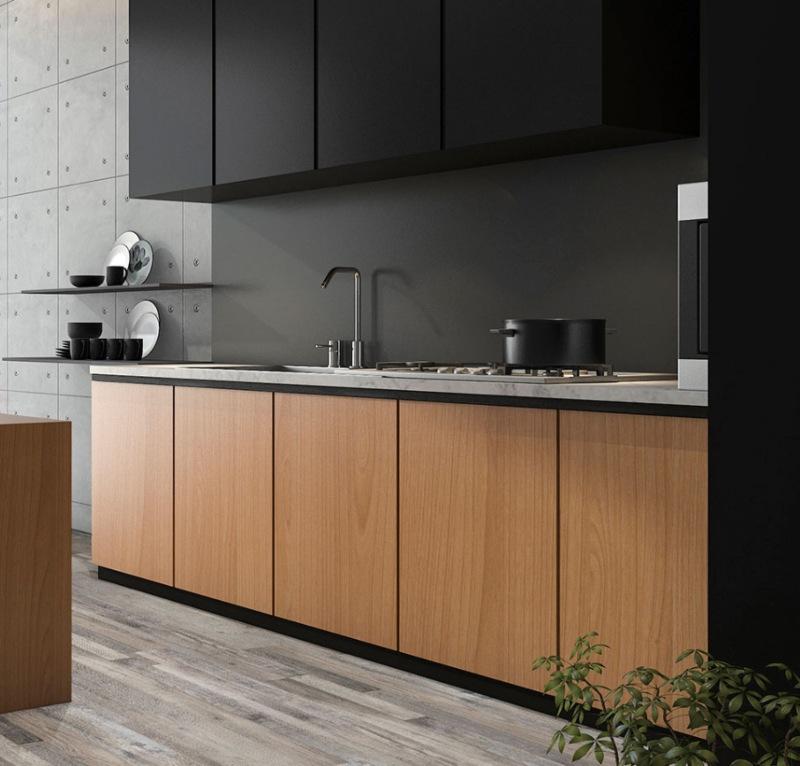 modern matte black backsplash for the kitchen