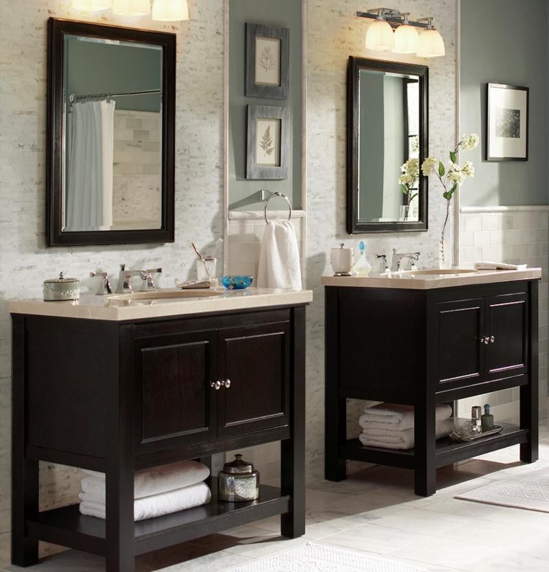 two sink bathroom with 3D marble backsplash