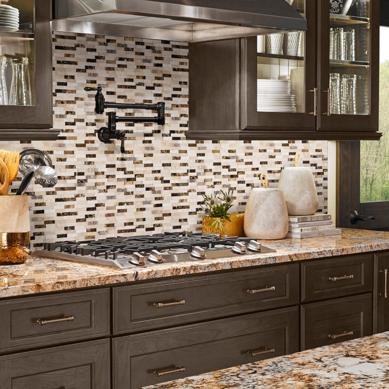 Dark+cabinet kitchen with peel and stick backsplash tile