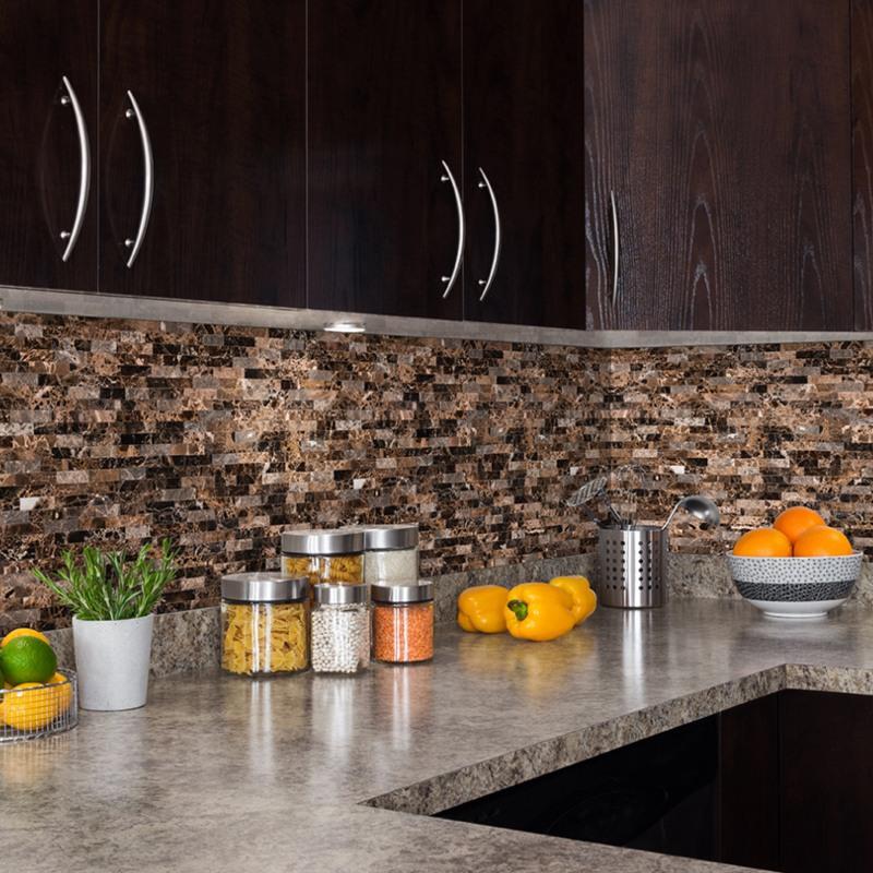Modern dark kitchen with marble mosaic peel stick wall tile