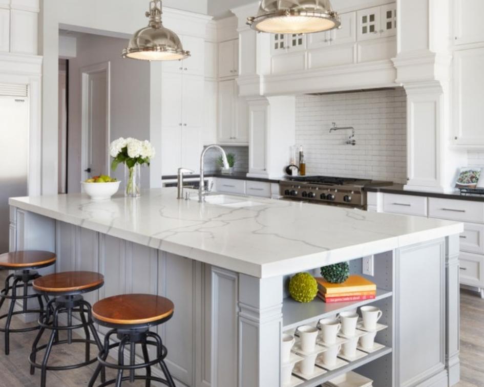 gorgeous quartz countertop island in kitchen
