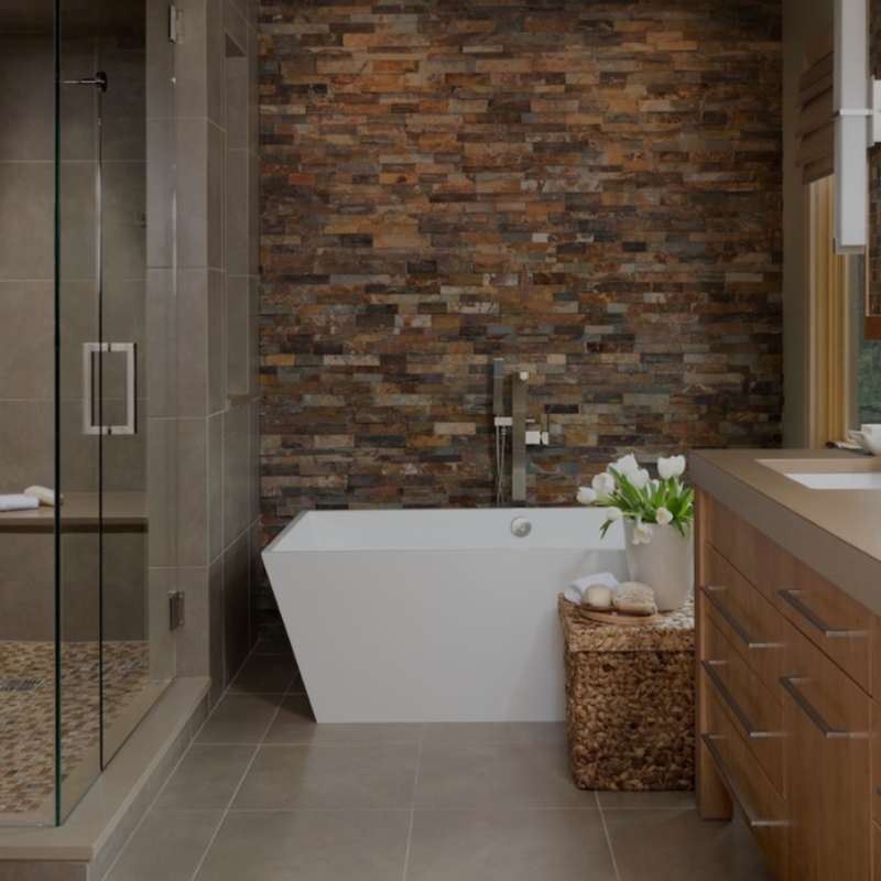 Contemporary+feature+wall+bathroom+with+slate+tile