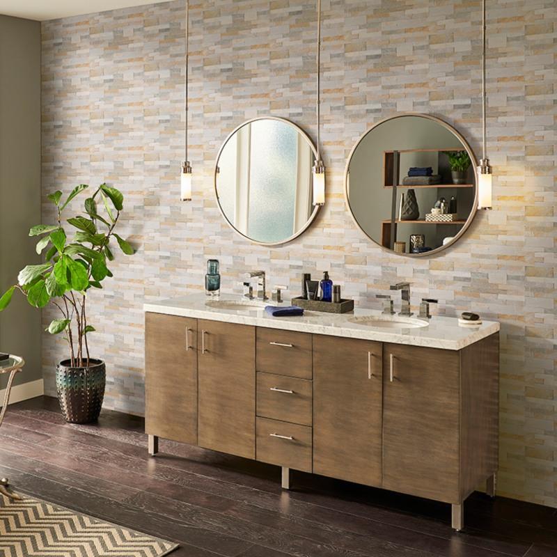 modern bathroom with veneer peel and stick wall tile