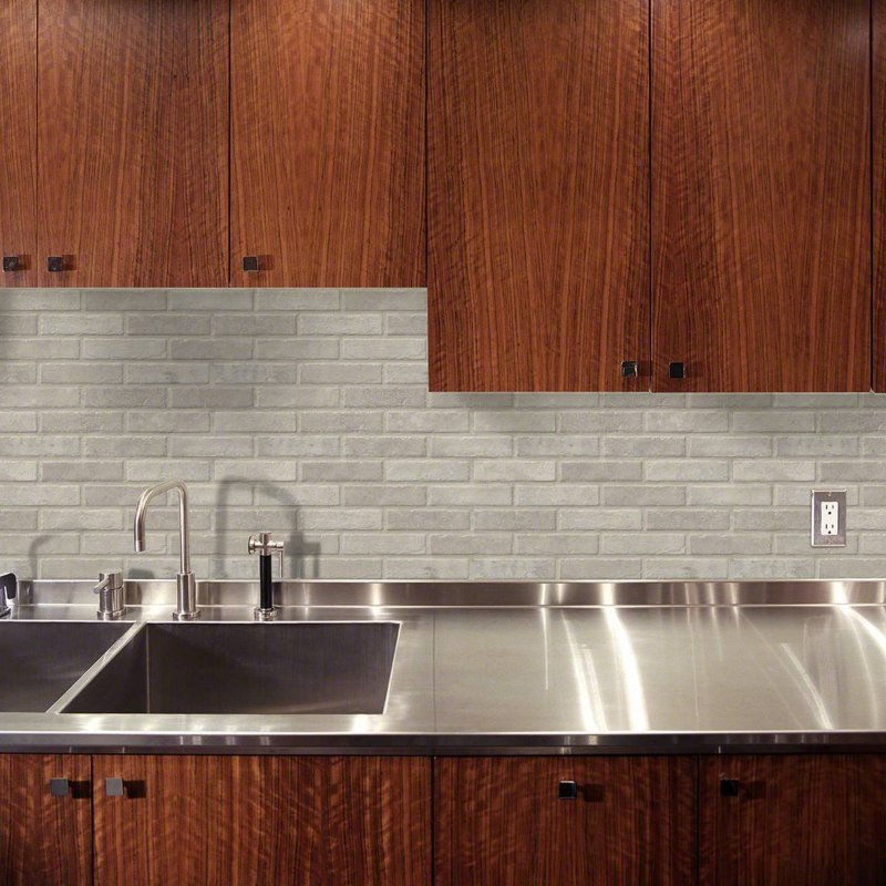 cream colored worn brick tile for feature wall