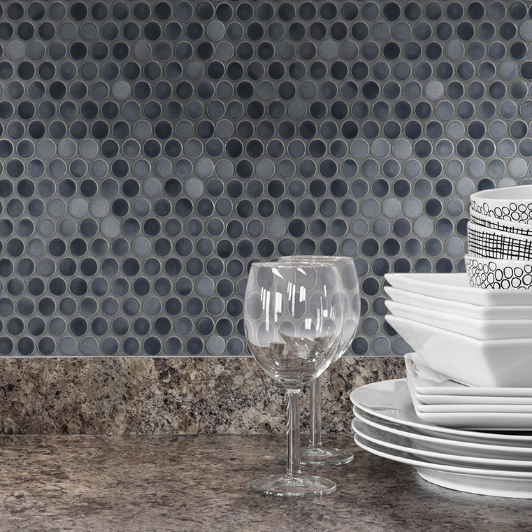 Retro penny round gray mosaic on wall