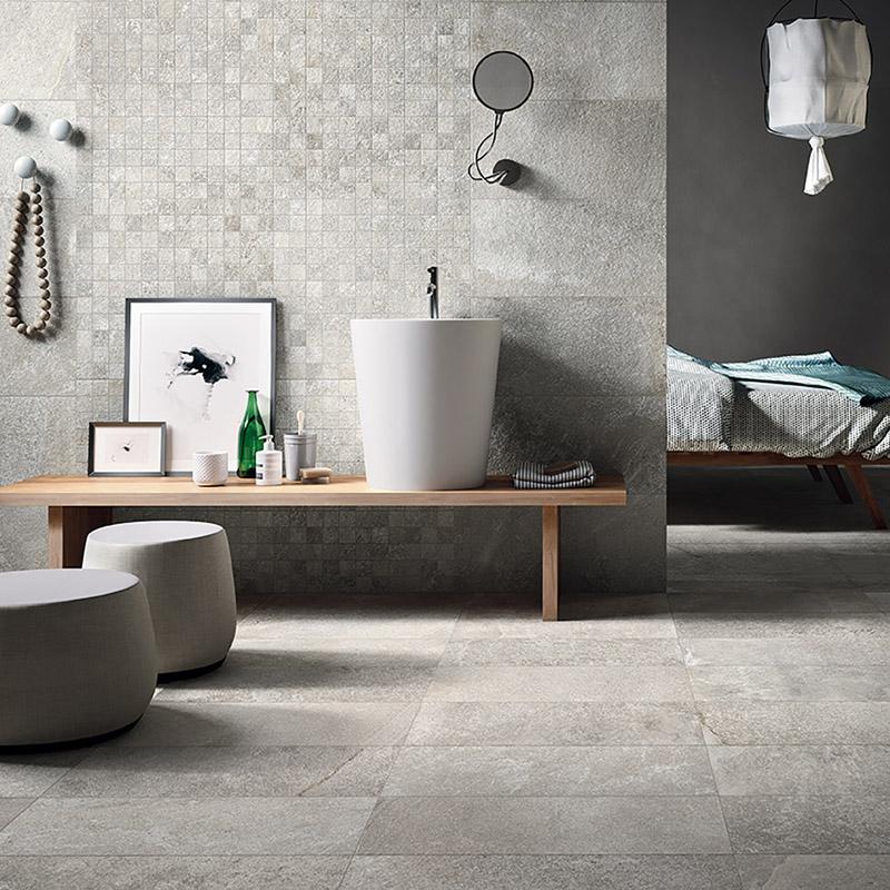 Urban loft with gray porcelain textures