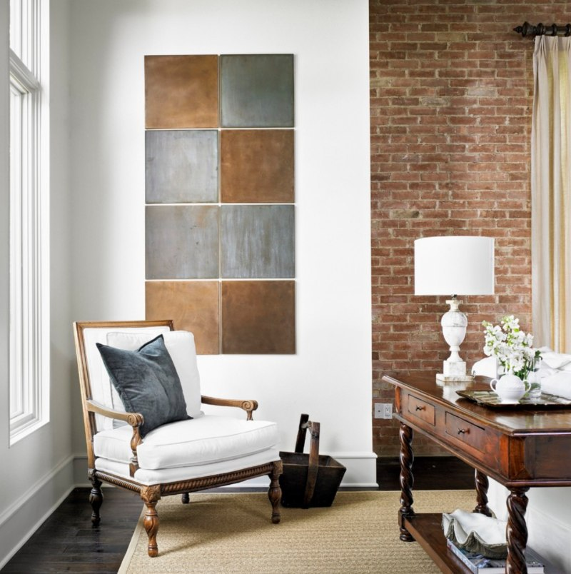 cozy study with brick feature wall