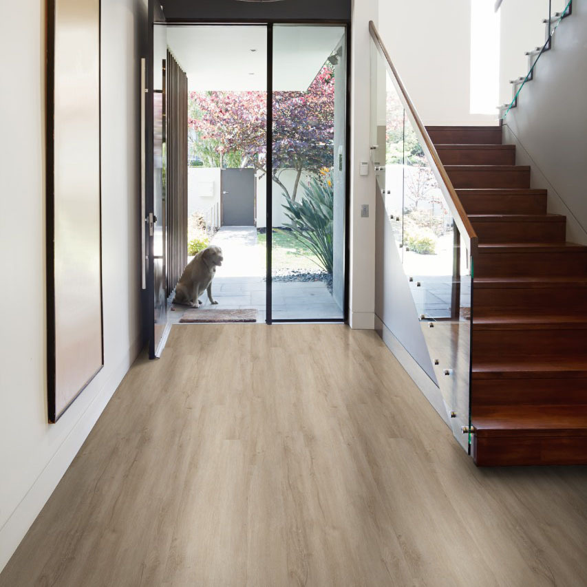 vinyl plank flooring in the entryway
