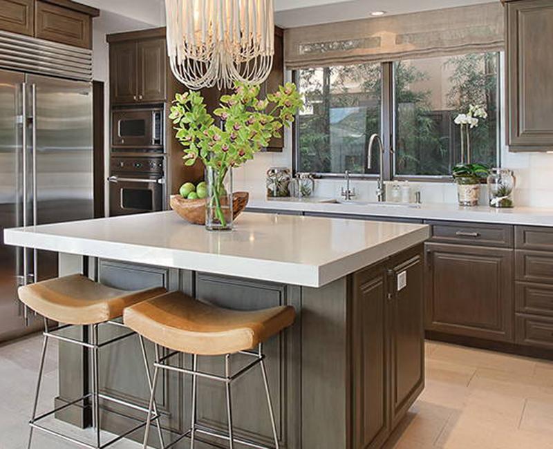 neutral tones in kitchen with white quartz countertop
