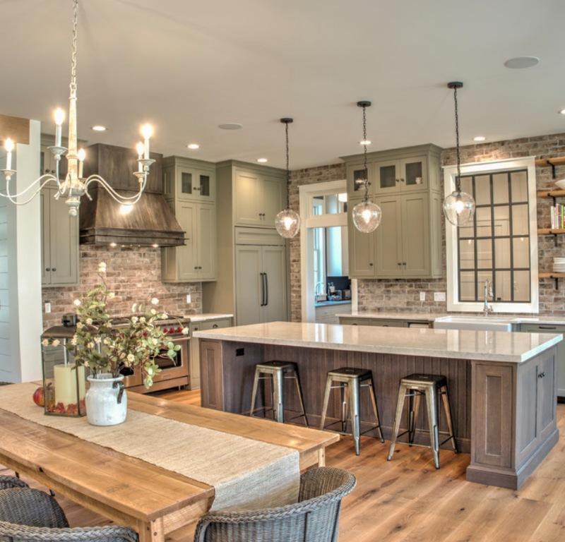 worn brick kitchen backsplash