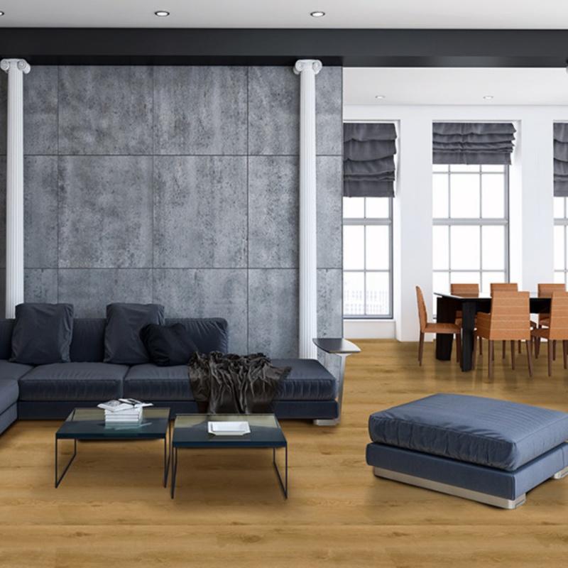 wood look tile in a modern room