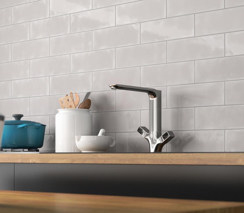 subway tile on a modern kitchen wall