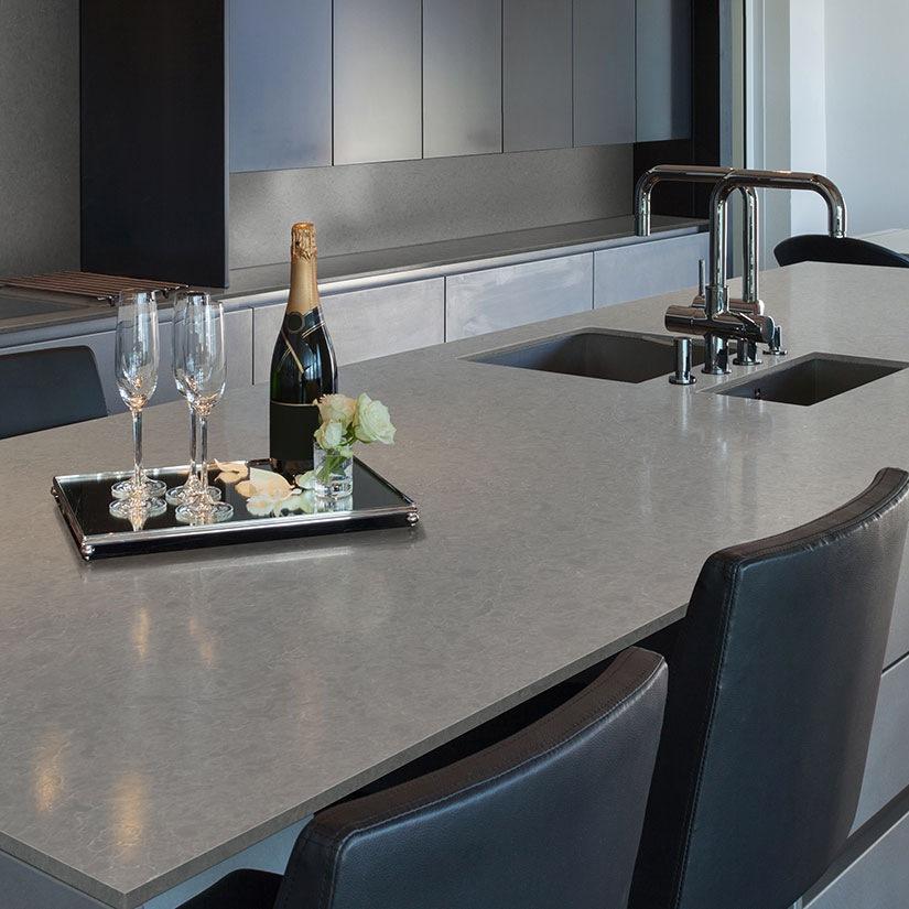concrete look elegant gray quartz countertop