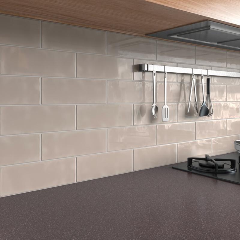 neutral hue subway tile kitchen backsplash