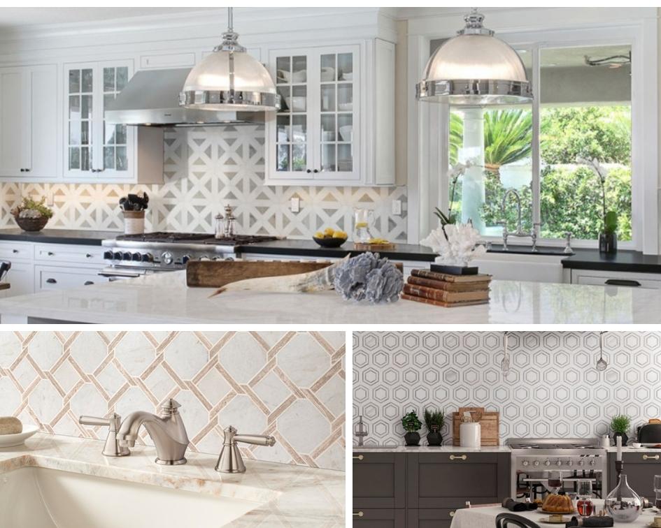 fun and elegant geometric pattern backsplash tiles