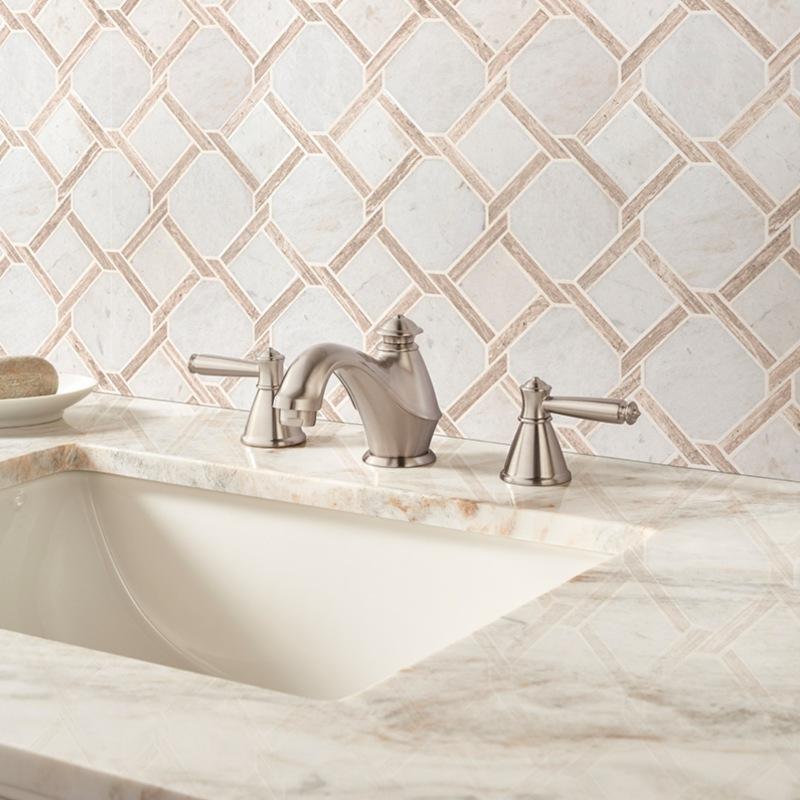 cream and white marble backsplash bathroom