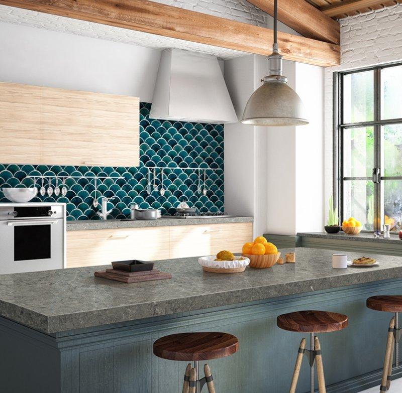scalloped jewel-toned kitchen backsplash