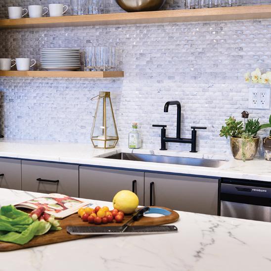 Elegant white mosaic kitchen backsplash