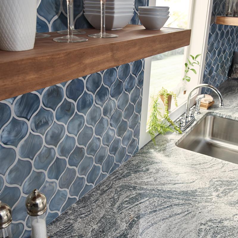 blue shimmer arabesque wall tile