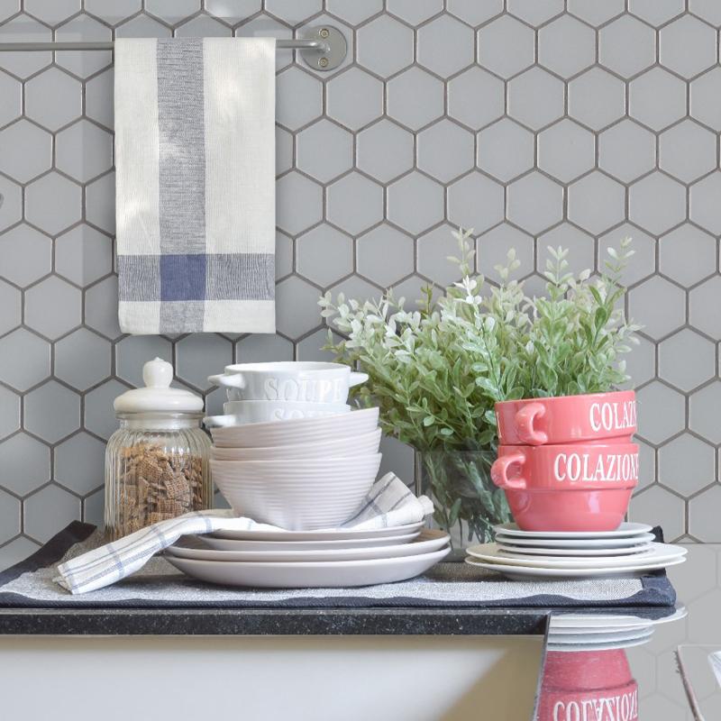 Retro hexagon kitchen backsplash