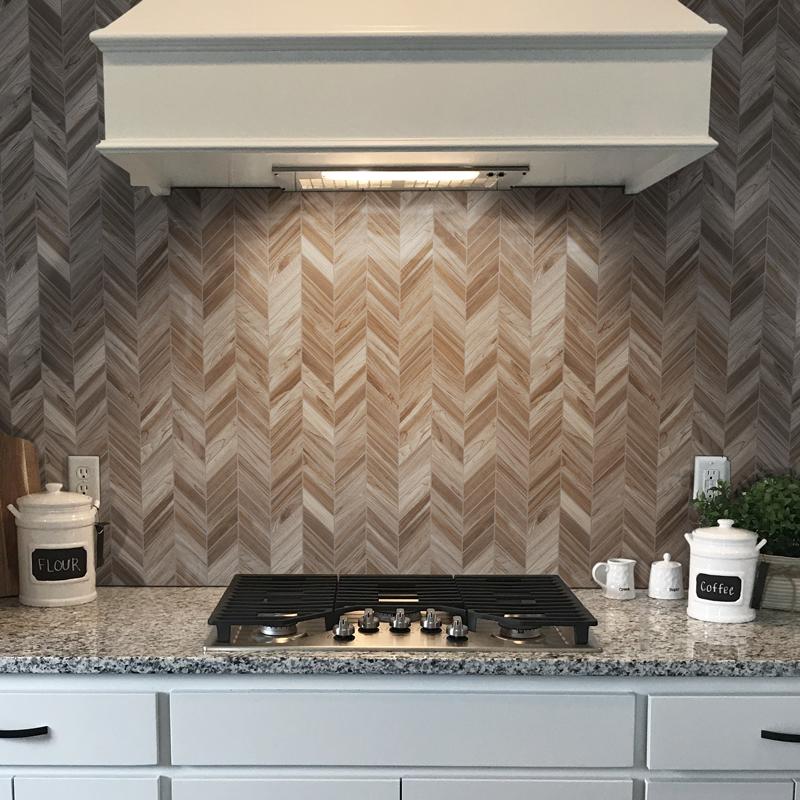 Chevron wood look kitchen backsplash