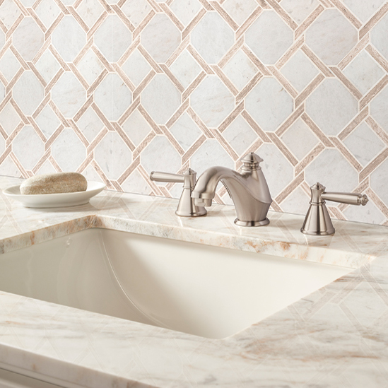 Unique bathroom backsplash is classic and modern at the same time