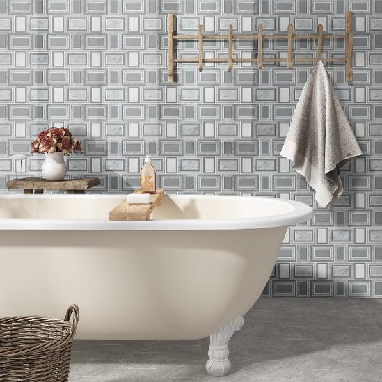 Retro glass wall tile behind bathtub