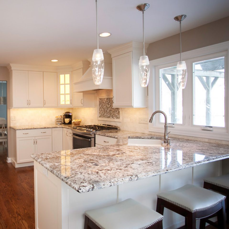 rare blue flower granite kitchen counter top